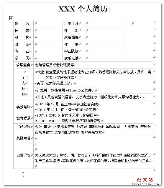 2013年应届生个人简历表格