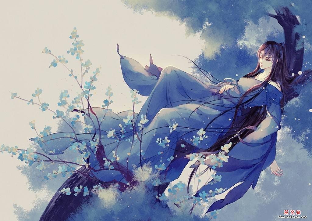 白衣女子背影古风手绘