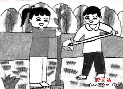 """小学作文 小学生看图作文 > 看图作文:植树节      老师对小朋友说:""""图片"""